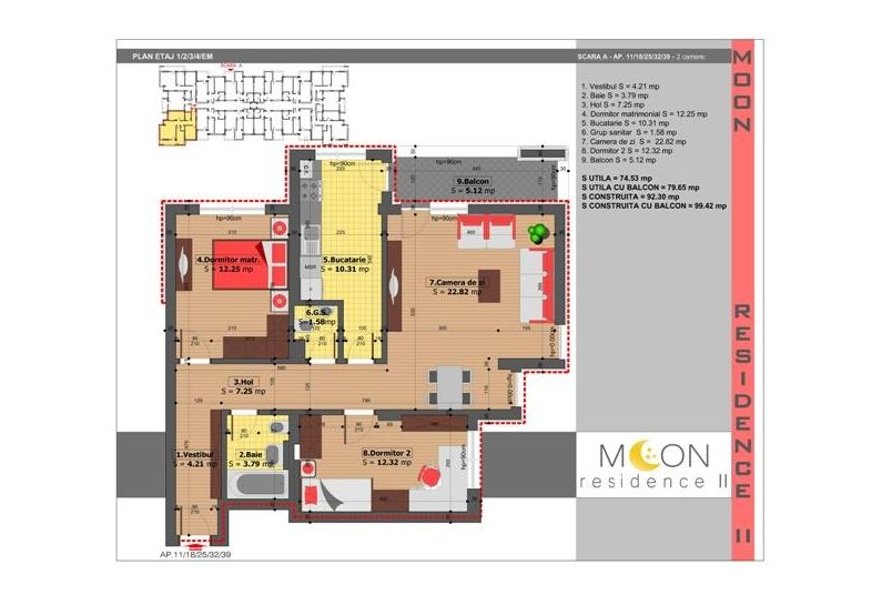 Apartamente 3 camere, 80 mp, Moon Residence 2