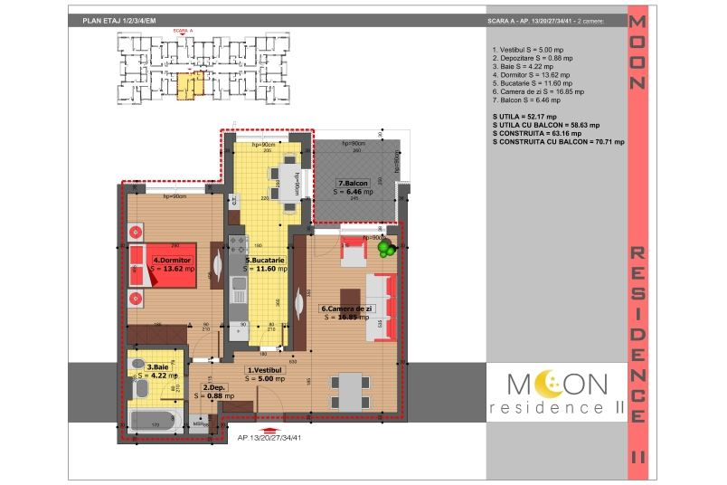 Apartamente 2 camere, 59 mp, Moon Residence 2