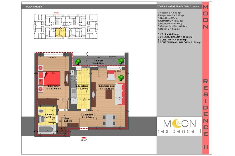Apartamente 2 camere, 51 mp, Moon Residence 2