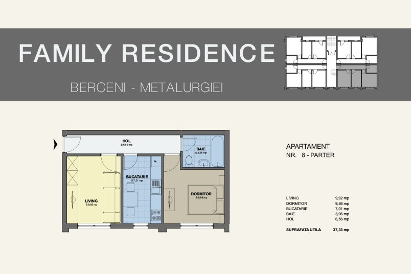 Apartamente 2 camere, 37 mp, Family Residence Metalurgiei