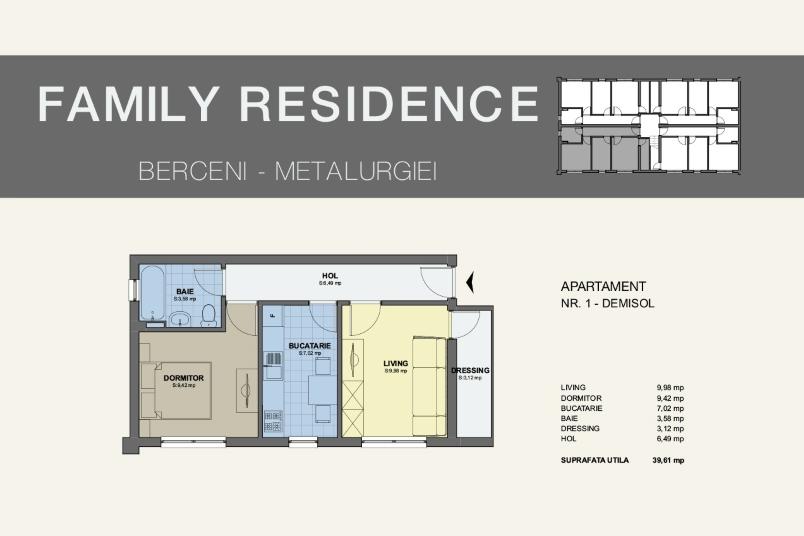 Apartamente 2 camere, 40 mp, Family Residence Metalurgiei