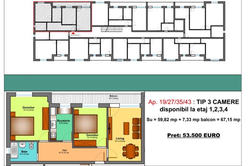 Apartamente 3 camere, 67 mp, Family Residence Metalurgiei