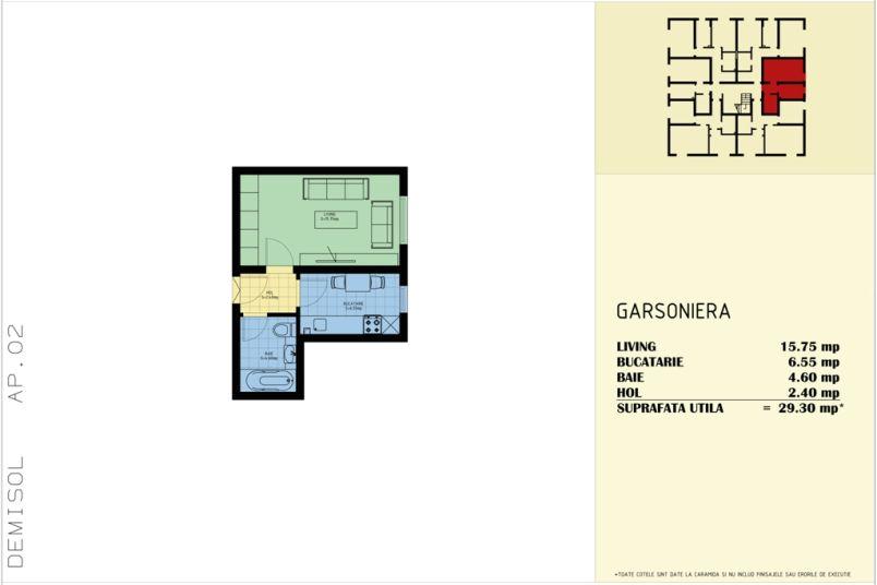 Garsoniere, 29 mp, Sud Garden Residence