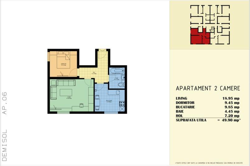 Apartamente 2 camere, 50 mp, Sud Garden Residence