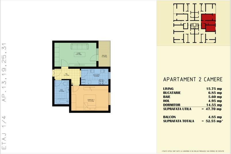 Apartamente 2 camere, 53 mp, Sud Garden Residence