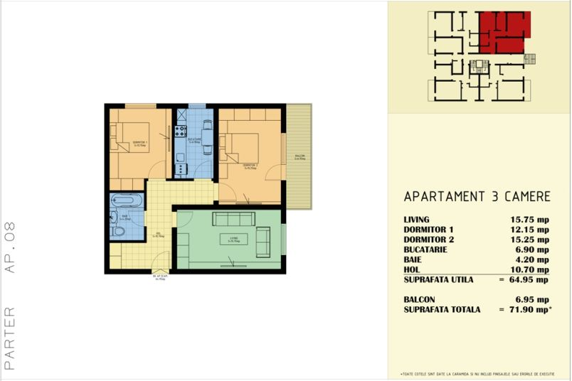 Apartamente 3 camere, 72 mp, Sud Garden Residence
