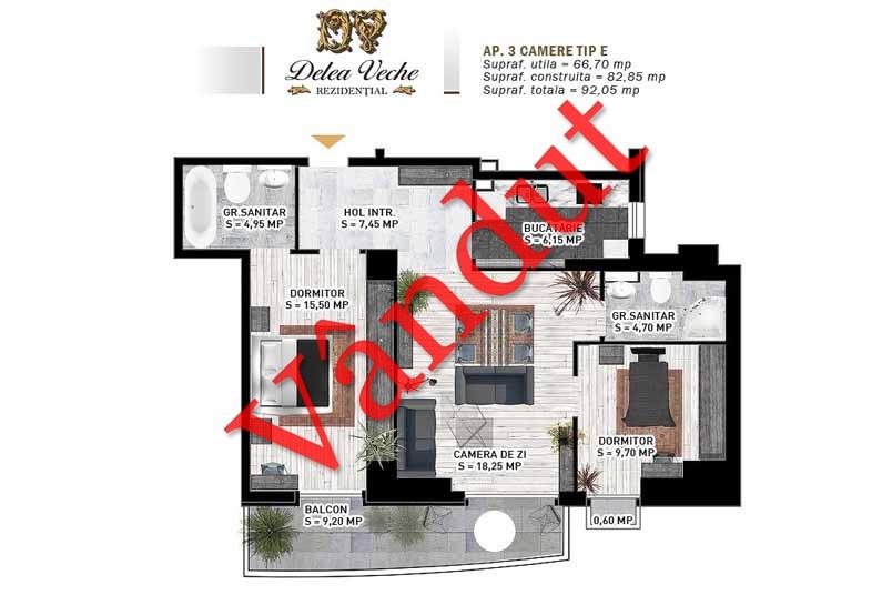 Apartamente 3 camere, Tip E, Delea Veche Rezidential