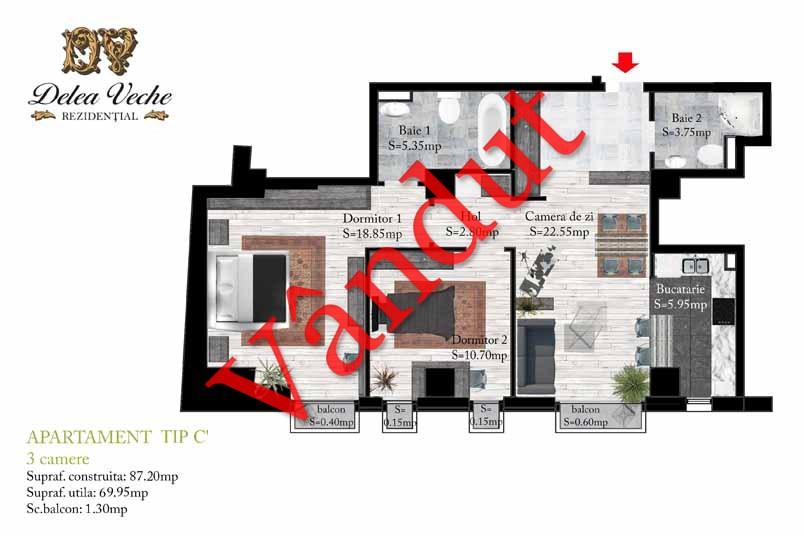 Apartamente 3 camere, Tip C 1, Delea Veche Rezidential