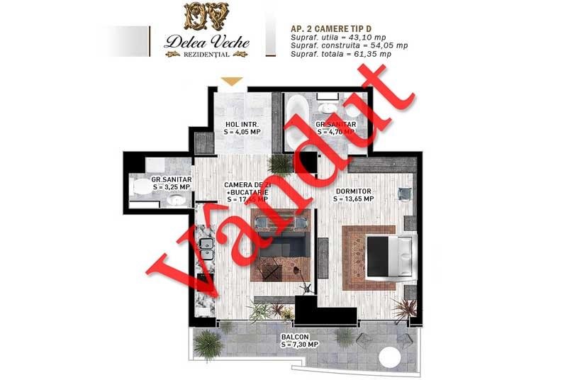 Apartamente 2 camere, Tip D, Delea Veche Rezidential