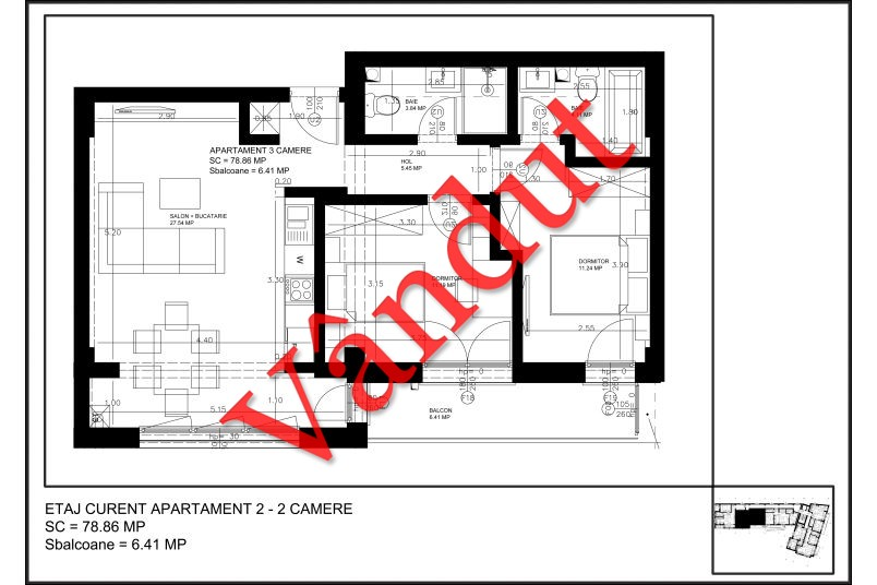 Apartamente 3 camere, Tip 1, Uptown Residence