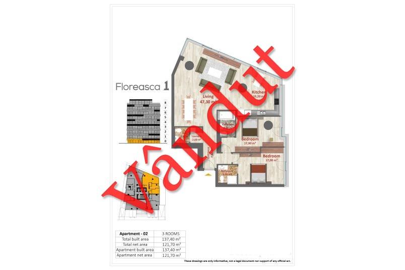 Apartamente 3 camere, Tip A 02, Floreasca 1