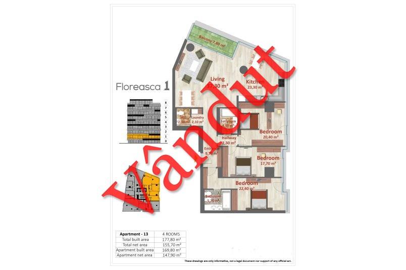 Apartamente 4 camere, Tip A 13, Floreasca 1