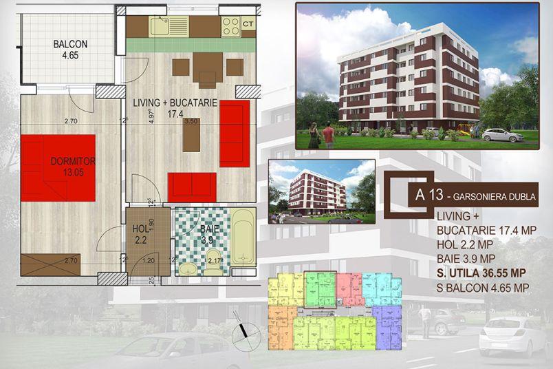 Apartamente 2 camere, 41 mp, Brown Residence Amurgului