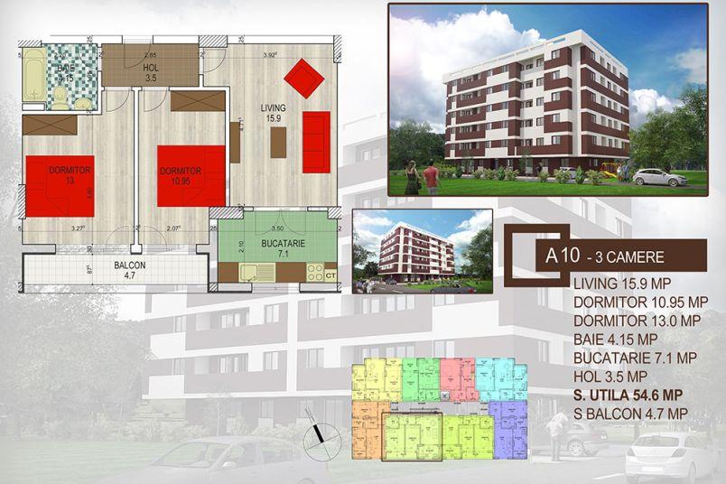 Apartamente 3 camere, 60 mp, Brown Residence Amurgului