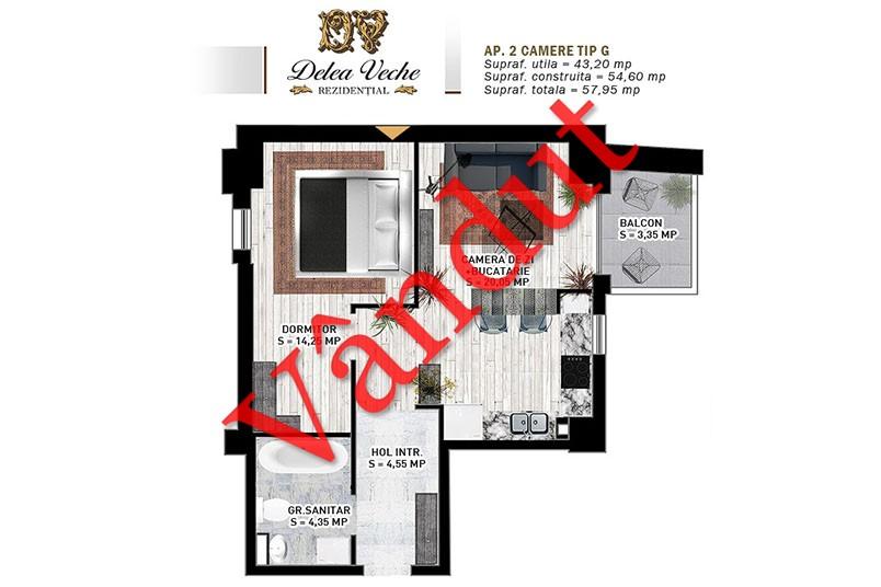 Apartamente 2 camere, Tip G, Delea Veche Rezidential