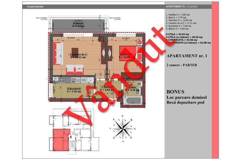 Apartament 2 camere, 50 mp, Nr. 1, Mihai Bravu Residence IV