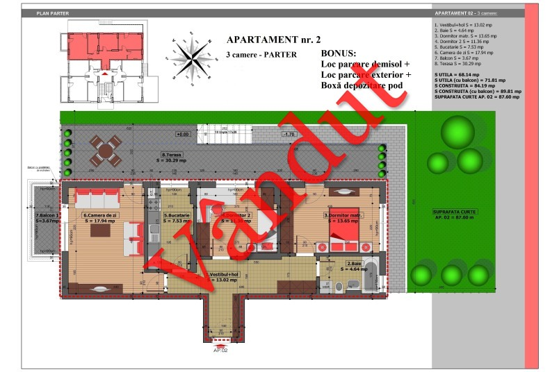 Apartament 3 camere, 72 mp, Nr. 2, Mihai Bravu Residence IV