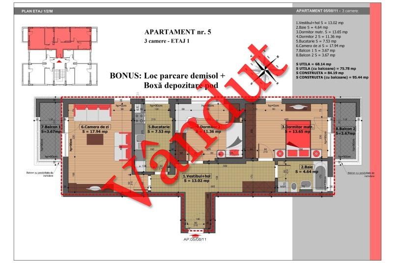 Apartament 3 camere, 76 mp, Nr. 5, Mihai Bravu Residence IV