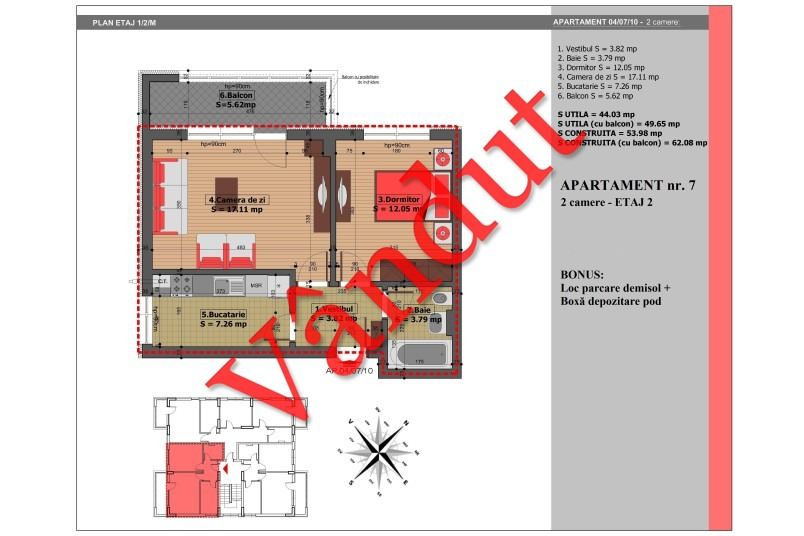 Apartament 2 camere, 50 mp, Nr. 7, Mihai Bravu Residence IV