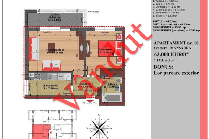 Apartament 2 camere, 50 mp, Nr. 10, Mihai Bravu Residence IV