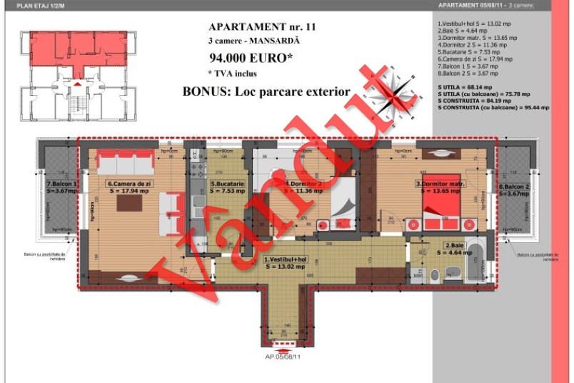 Apartament 3 camere, 76 mp, Nr. 11, Mihai Bravu Residence IV