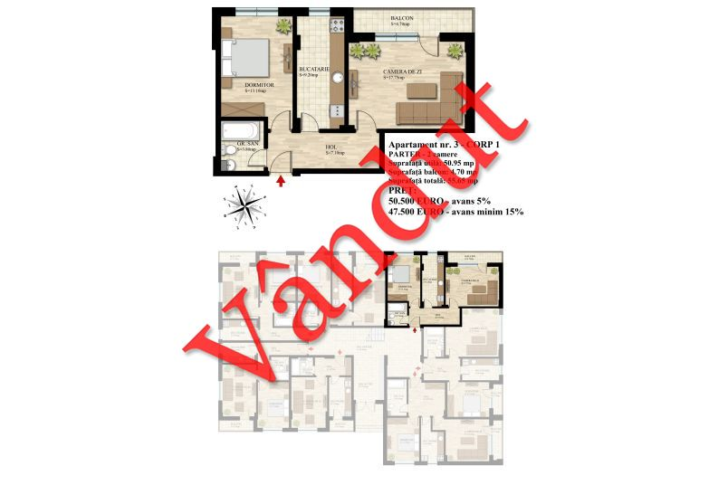 Apartament 2 camere, 51 mp, Nr. 03 E0 C1, Berceni Residence II