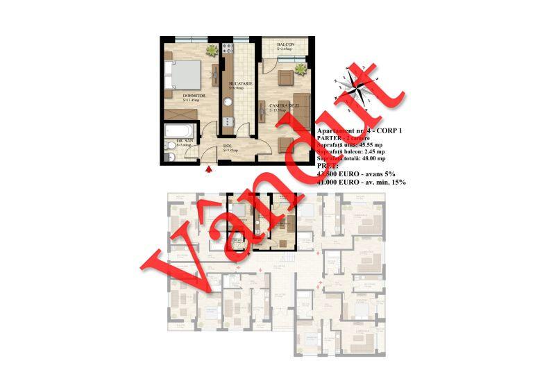 Apartament 2 camere, 46 mp, Nr. 04 E0 C1, Berceni Residence II