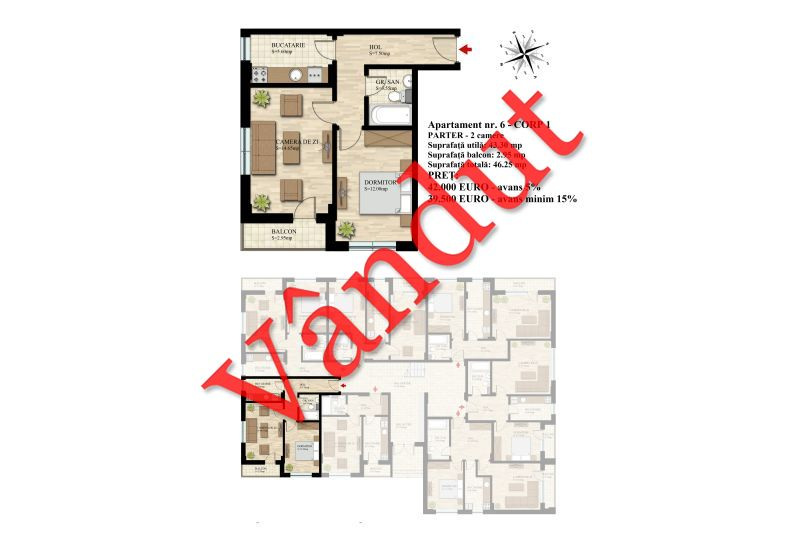 Apartament 2 camere, 43 mp, Nr. 06 E0 C1, Berceni Residence II