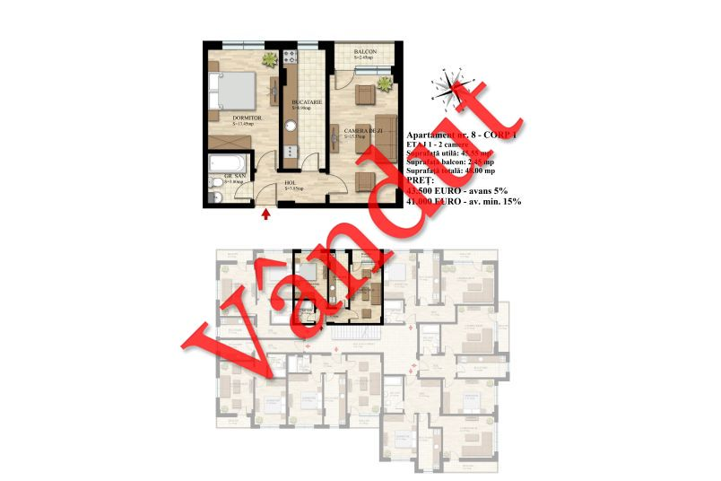 Apartament 2 camere, 46 mp, Nr. 08 E1 C1, Berceni Residence II