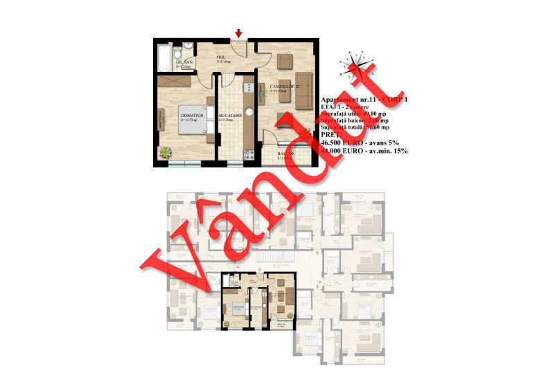 Apartament 2 camere, 49 mp, Nr. 11 E1 C1, Berceni Residence II