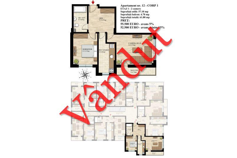 Apartament 2 camere, 57 mp, Nr. 12 E1 C1, Berceni Residence II