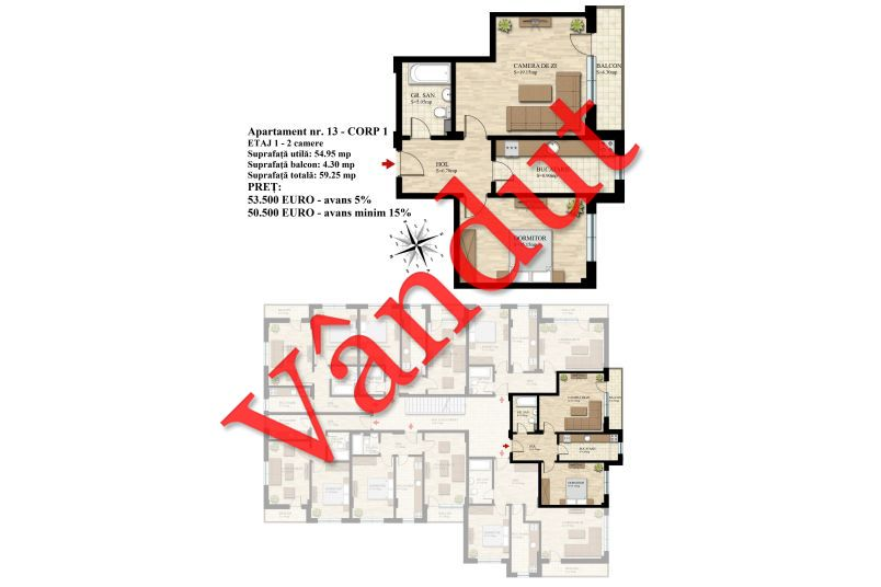 Apartament 2 camere, 55 mp, Nr. 13 E1 C1, Berceni Residence II
