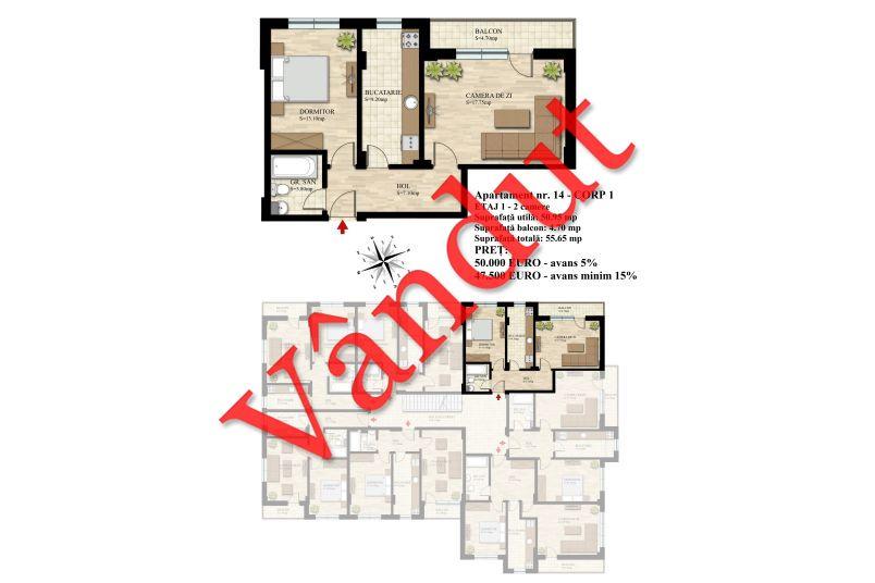 Apartament 2 camere, 51 mp, Nr. 14 E1 C1, Berceni Residence II
