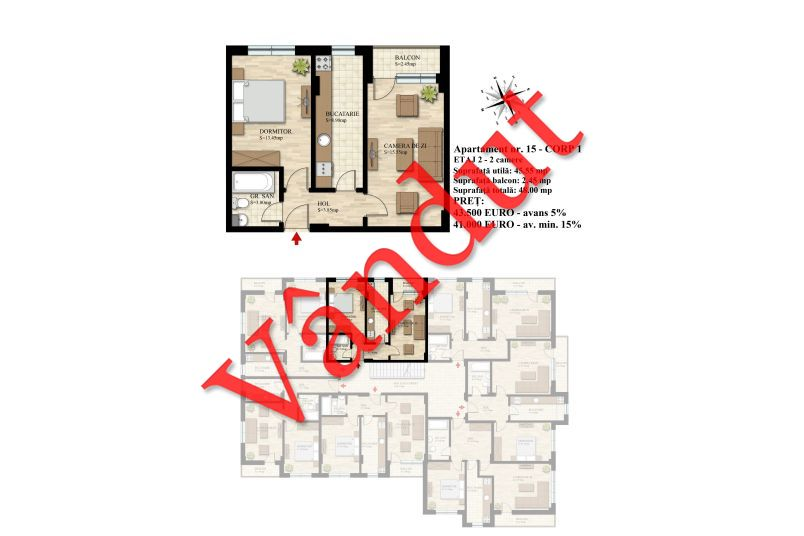Apartament 2 camere, 46 mp, Nr. 15 E2 C1, Berceni Residence II
