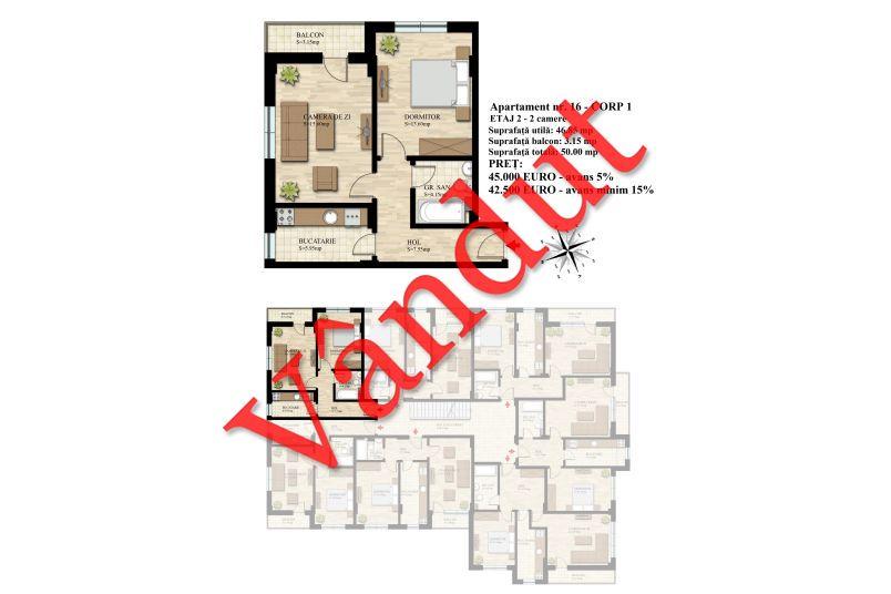 Apartament 2 camere, 47 mp, Nr. 16 E2 C1, Berceni Residence II