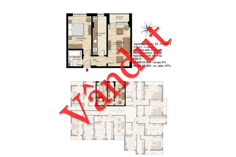 Apartament 2 camere, 46 mp, Nr. 22 E3 C1, Berceni Residence II