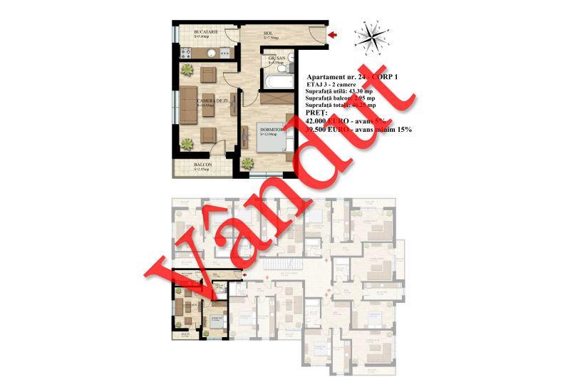 Apartament 2 camere, 43 mp, Nr. 24 E3 C1, Berceni Residence II