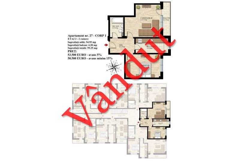 Apartament 2 camere, 55 mp, Nr. 27 E3 C1, Berceni Residence II