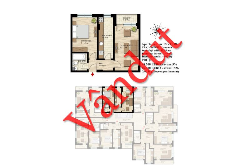 Duplex 4 camere, 46 mp, Nr. 29 E4 C1, Berceni Residence II