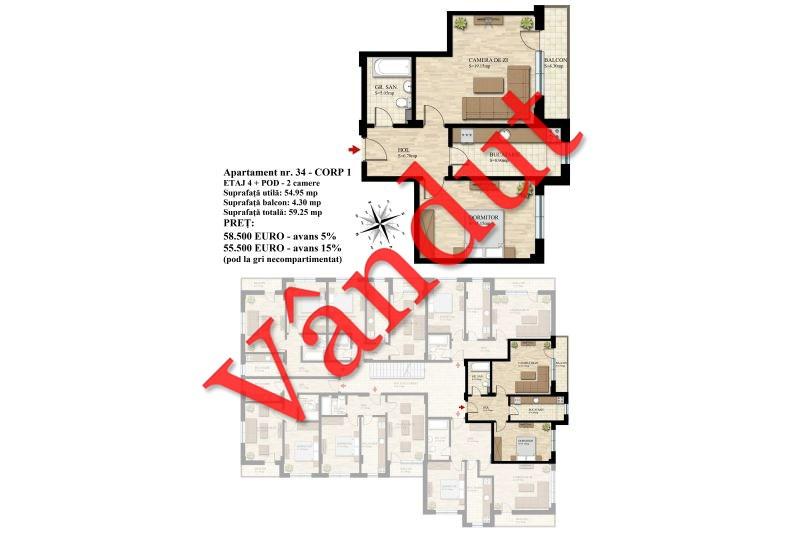 Duplex 2 camere, 55 mp, Nr. 34 E4 C1, Berceni Residence II4