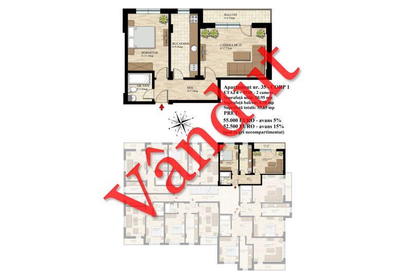 Duplex 3 camere, 51 mp, Nr. 35 E4 C1, Berceni Residence II