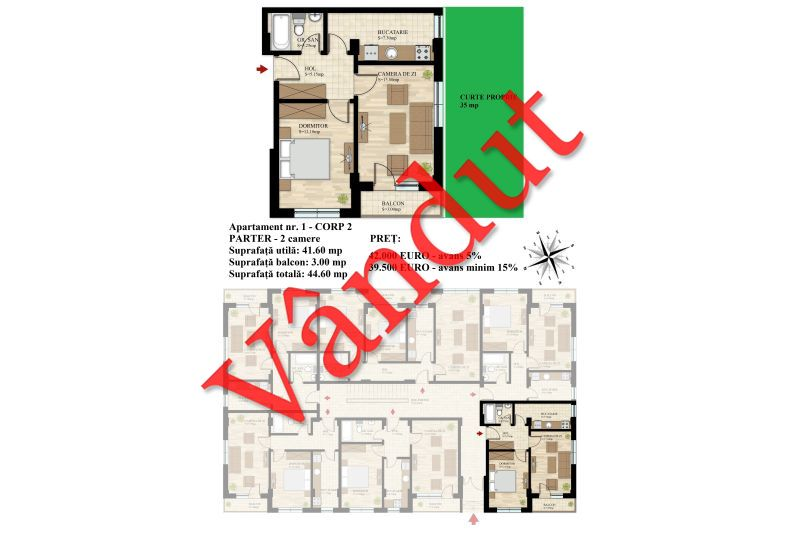 Apartament 2 camere, 42 mp, Nr. 01 E0 C2, Berceni Residence II