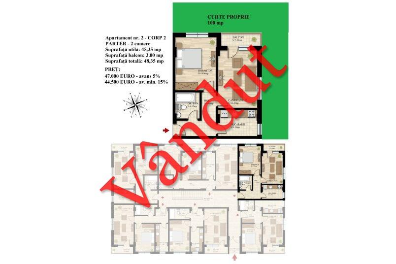 Apartament 2 camere, 45 mp, Nr. 02 E0 C2, Berceni Residence II