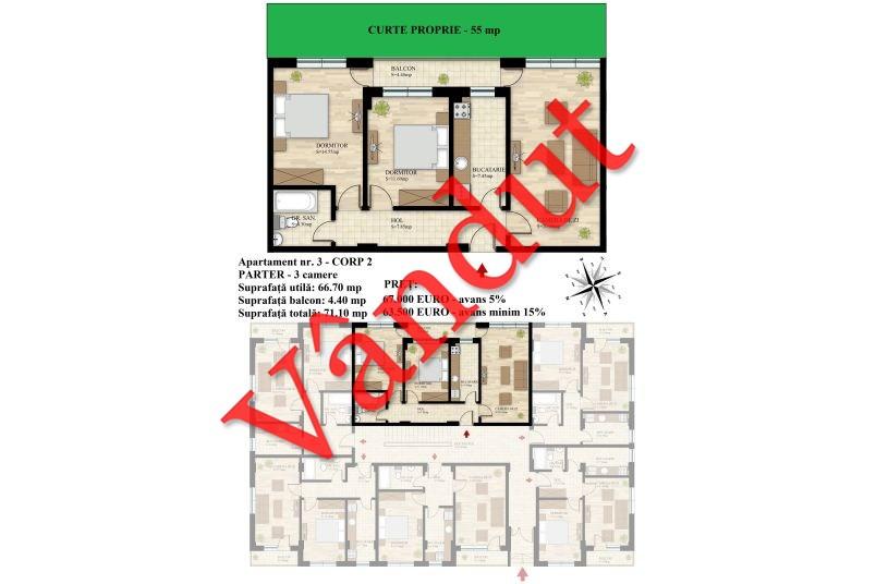 Apartament 3 camere, 67 mp, Nr. 03 E0 C2, Berceni Residence II