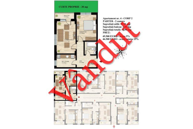 Apartament 2 camere, 50 mp, Nr. 04 E0 C2, Berceni Residence II