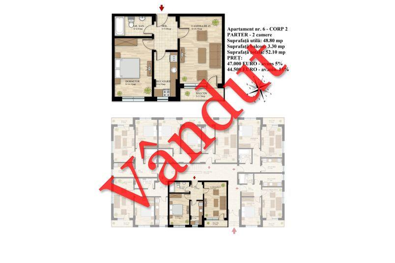 Apartament 2 camere, 49 mp, Nr. 06 E0 C2, Berceni Residence II