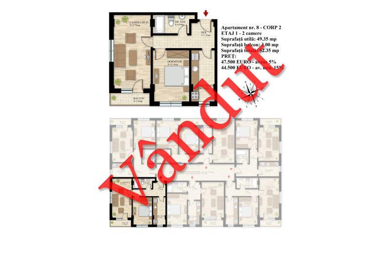 Apartament 2 camere, 49 mp, Nr. 08 E1 C2, Berceni Residence II
