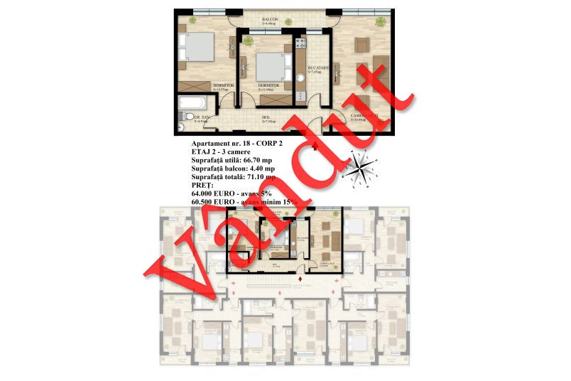 Apartament 3 camere, 67 mp, Nr. 18 E2 C2, Berceni Residence II