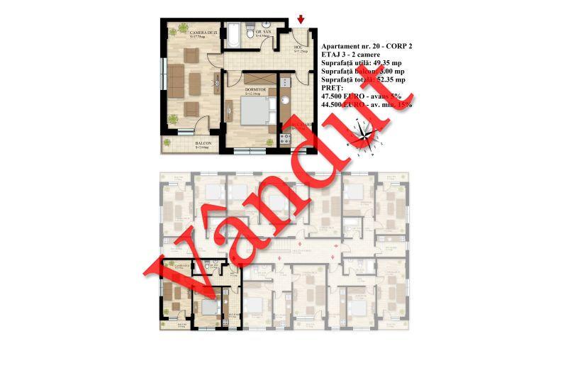 Apartament 2 camere, 49 mp, Nr. 20 E3 C2, Berceni Residence II