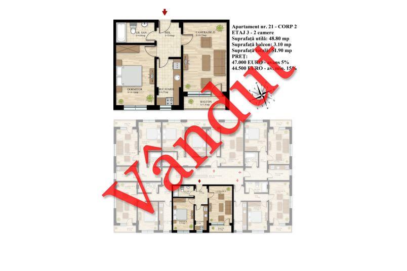 Apartament 2 camere, 49 mp, Nr. 21 E3 C2, Berceni Residence II